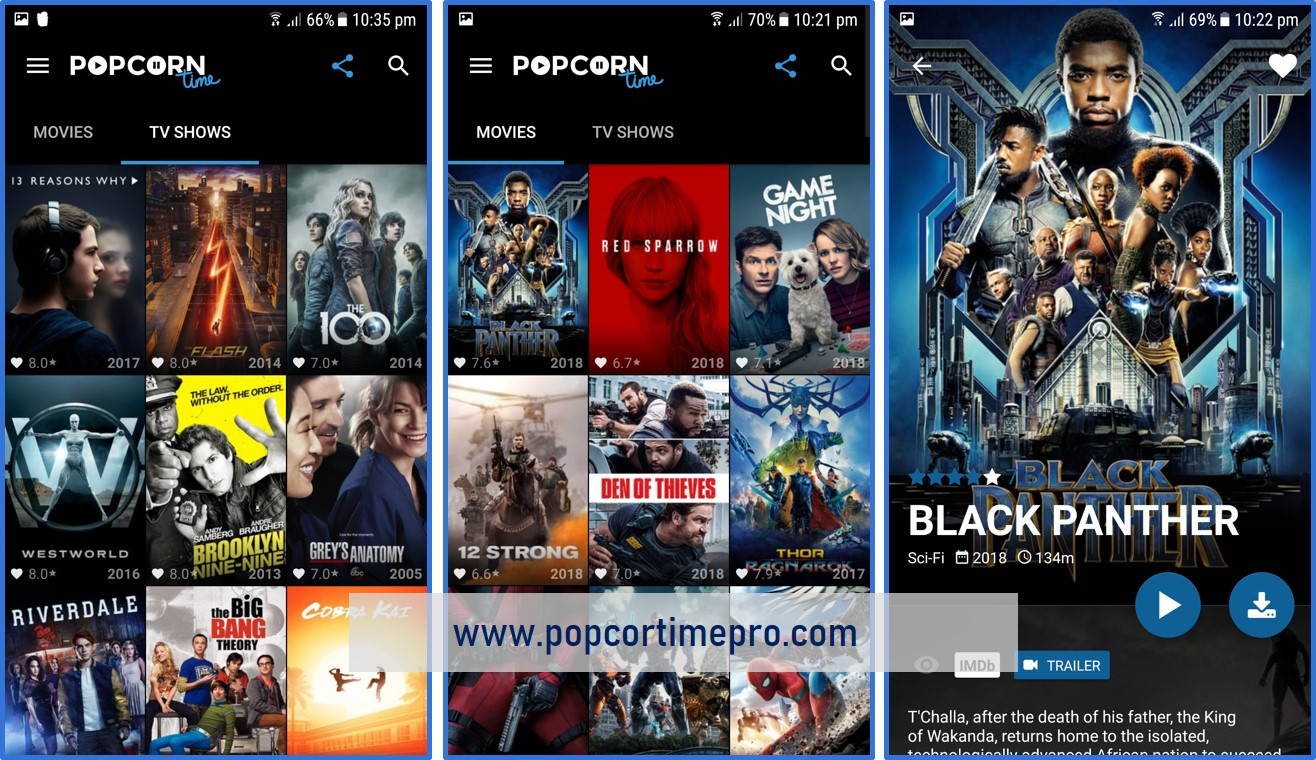 popcorn time app interface